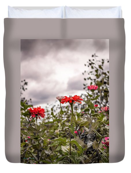 Red Flower Grey Sky Duvet Cover