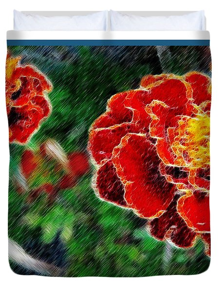 Duvet Cover featuring the photograph Red Flower In Autumn by Joan  Minchak