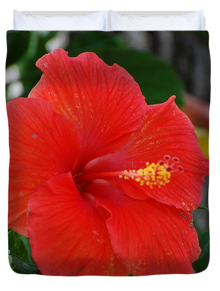 Duvet Cover featuring the photograph Red Flower by Rob Hans