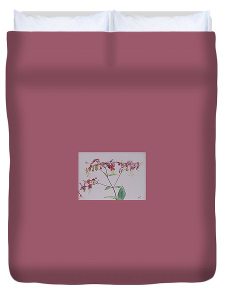 Red Flower Vine Duvet Cover