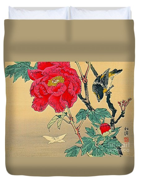 Red Flower With Bird 1870 Duvet Cover by Padre Art