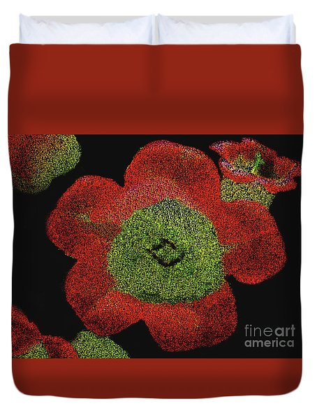 Duvet Cover featuring the digital art Red Flowers - Hand Painted Then Digitally Pointillized by Merton Allen