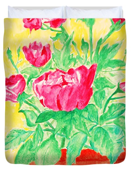 Red Flowers In A Brown Vase Duvet Cover