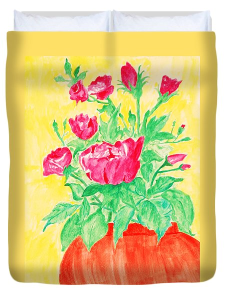 Duvet Cover featuring the painting Red Flowers In A Brown Vase by Jose Rojas