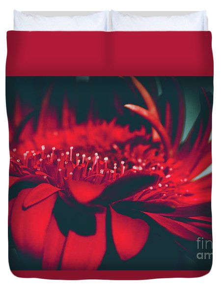 Duvet Cover featuring the photograph Red Flowers Parametric by Sharon Mau