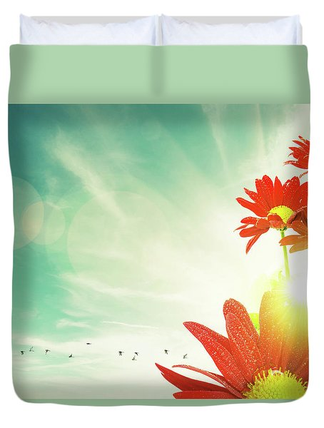 Duvet Cover featuring the photograph Red Flowers Spring by Carlos Caetano