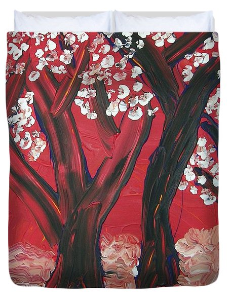 Duvet Cover featuring the painting Red Forest by Joshua Redman