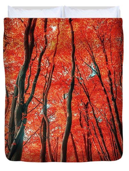Red Forest Of Sunlight Duvet Cover