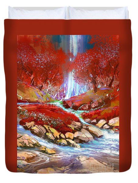 Red Forest Duvet Cover