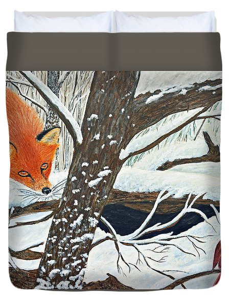 Red Fox And Cardinal Duvet Cover