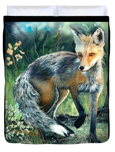 Duvet Cover featuring the painting Red Fox- Caught In The Moment by Barbara Jewell