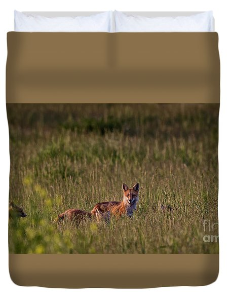 Red Fox Family Duvet Cover