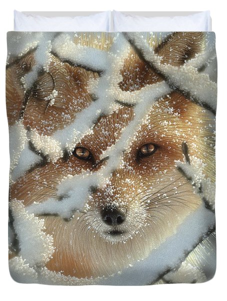 Red Fox - Hide And Seek Duvet Cover