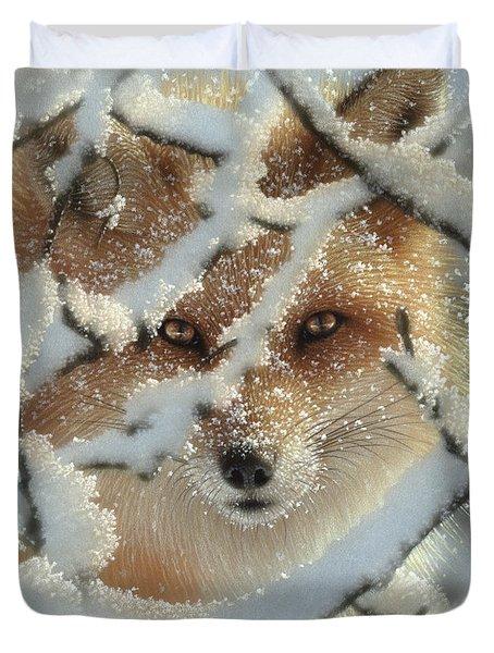 Red Fox - Hide And Seek Duvet Cover