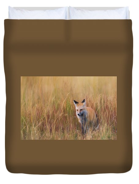 Duvet Cover featuring the photograph Red Fox Hunting  by Kelly Marquardt