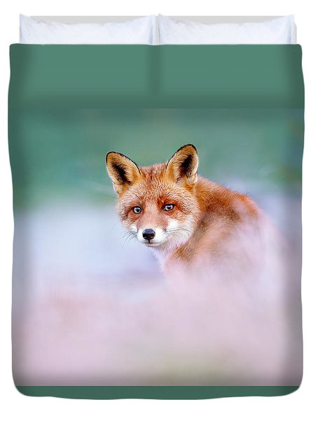 Red Fox In A Mysterious World Duvet Cover by Roeselien Raimond