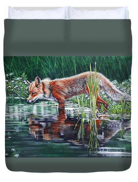 Red Fox Reflecting Duvet Cover