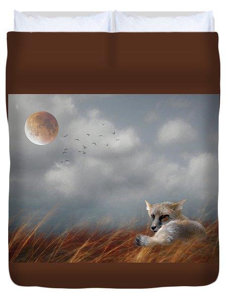 Red Fox In The Moonlight Duvet Cover