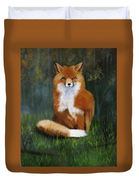 Red Fox Duvet Cover by Jean Yves Crispo