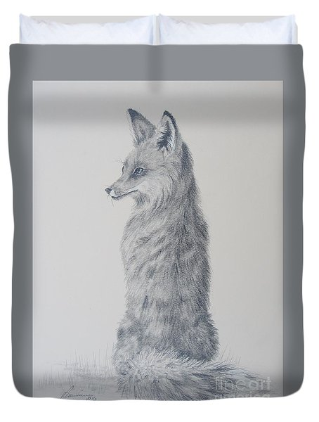 Duvet Cover featuring the drawing Red Fox by Laurianna Taylor