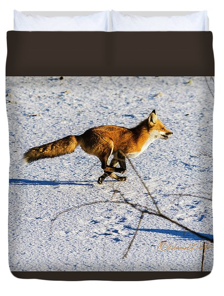 Red Fox On The Run Duvet Cover
