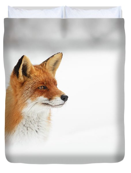 Red Fox Out Of The Blue Duvet Cover