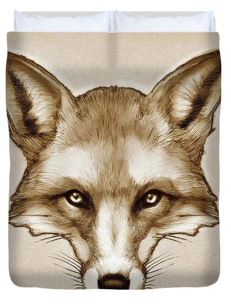 Red Fox Sketch Duvet Cover