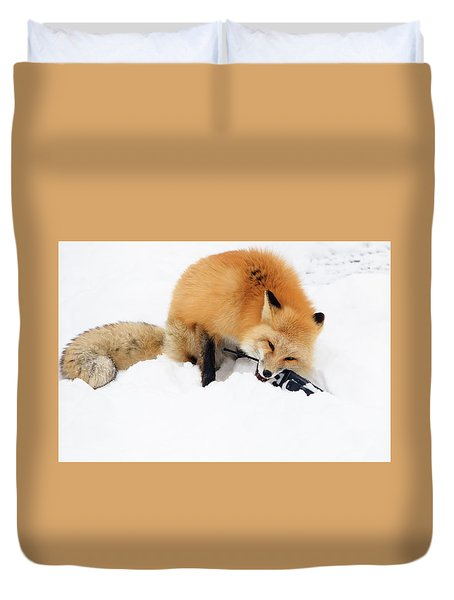 Red Fox To Base Duvet Cover