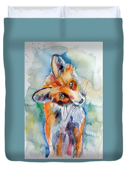 Red Fox Watching Duvet Cover