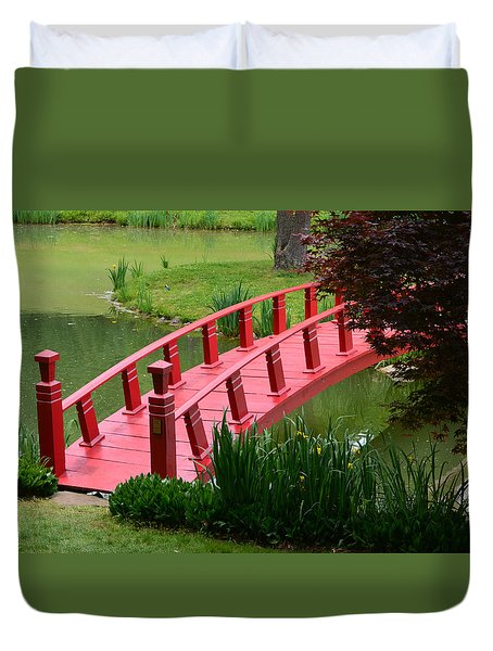 Duvet Cover featuring the photograph Red Garden Bridge by Kathleen Stephens