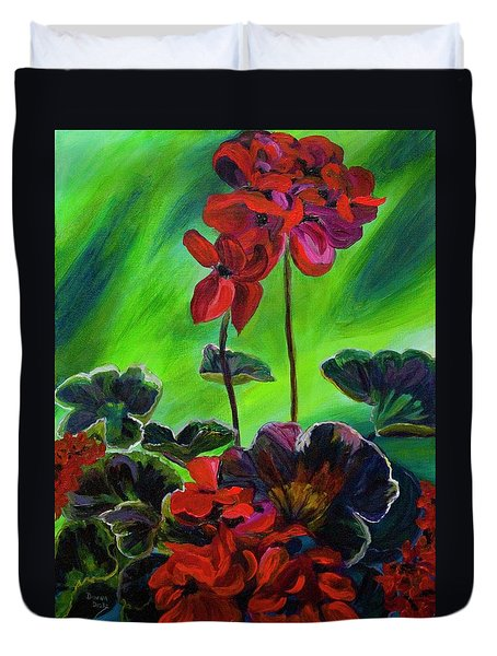 Red Geranium Duvet Cover