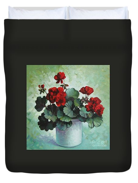 Duvet Cover featuring the painting Red Geranium by Elena Oleniuc
