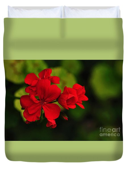 Red Geranium Duvet Cover by Kaye Menner