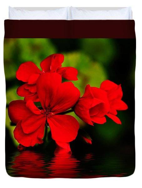 Red Geranium On Water Duvet Cover by Kaye Menner