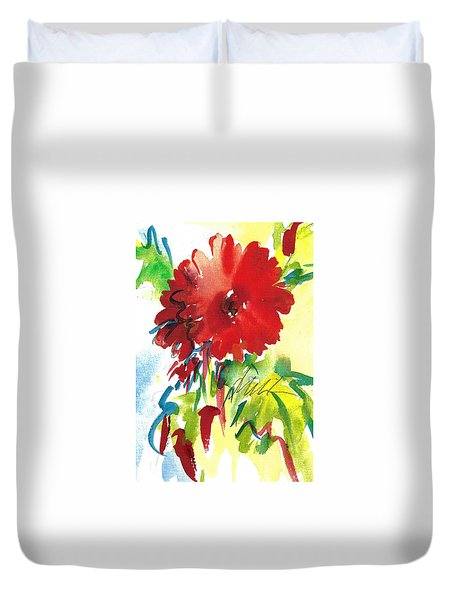 Gerberas Red, White, And Blue Duvet Cover