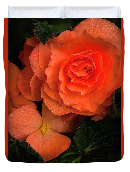 Red Giant Begonia Ruffle Form Duvet Cover