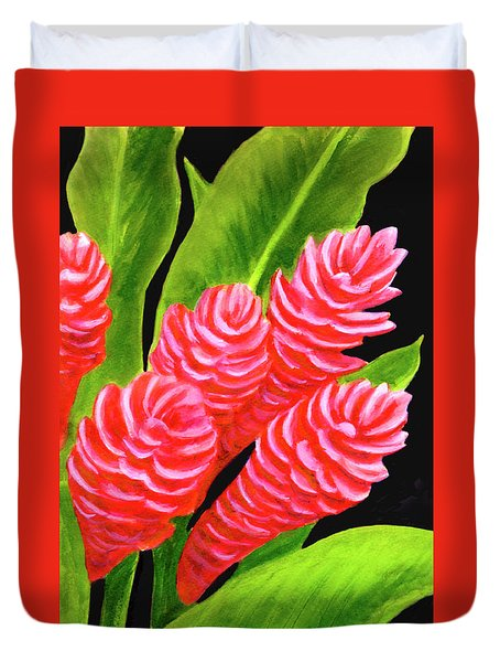 Red Ginger Flowers #235 Duvet Cover by Donald k Hall