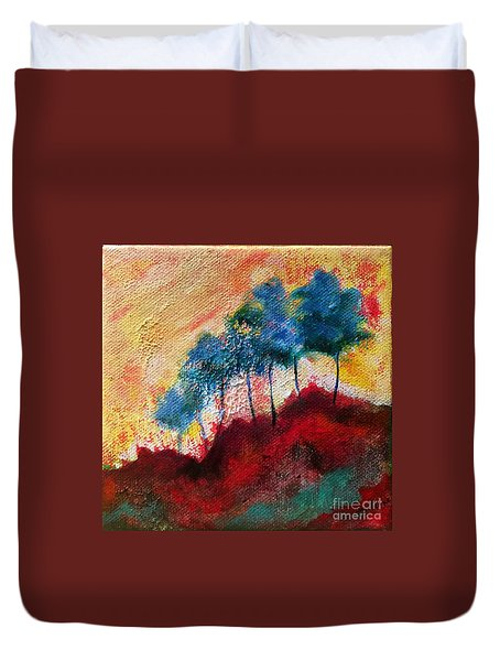 Duvet Cover featuring the painting Red Glade by Elizabeth Fontaine-Barr