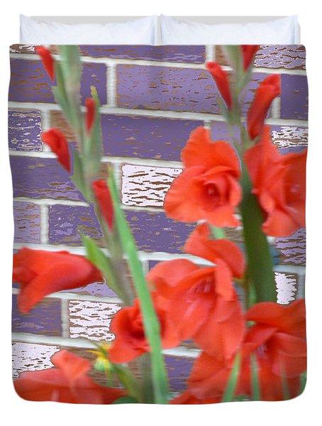 Red Gladiolas Duvet Cover