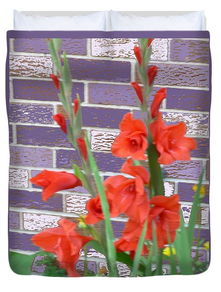 Duvet Cover featuring the pyrography Red Gladiolas by Elly Potamianos