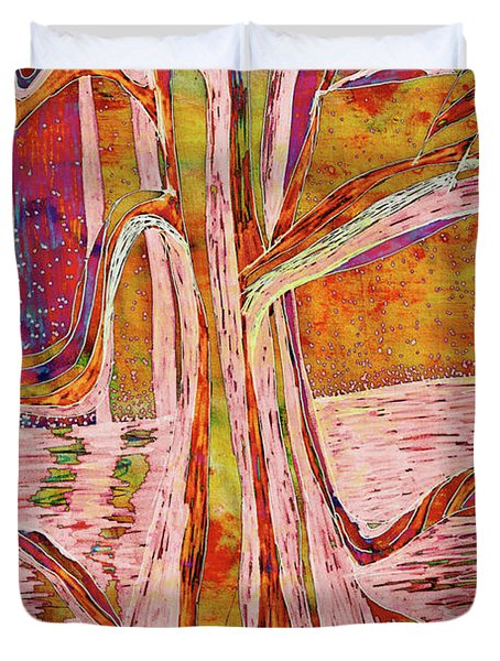 Red-gold Autumn Glow River Tree Duvet Cover