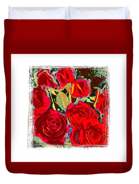 Red Gold Rosed Duvet Cover