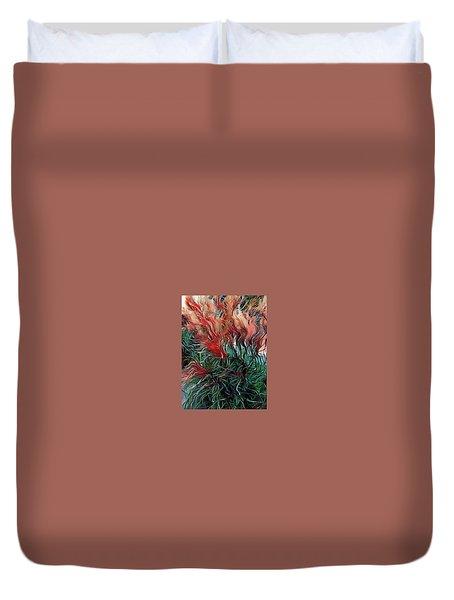 Red Grasses Duvet Cover