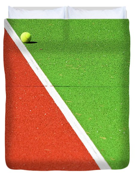 Red Green White Line And Tennis Ball Duvet Cover