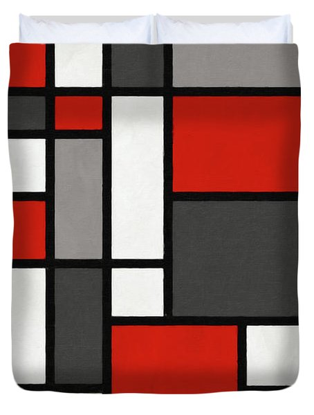 Duvet Cover featuring the digital art Red Grey Black Mondrian Inspired by Michael Tompsett