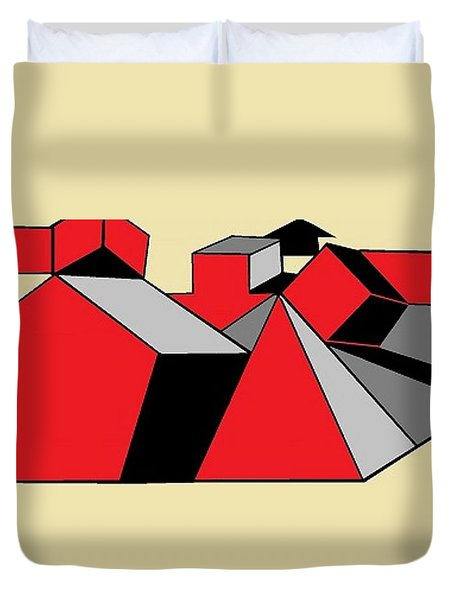 Red, Grey, Cream 2 Duvet Cover
