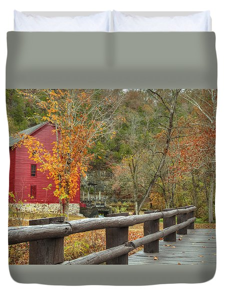 Red Grist Mill Front Entrance Duvet Cover