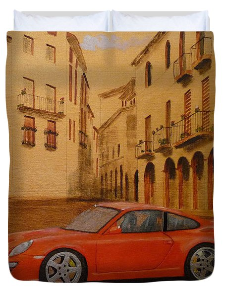 Red Gt3 Porsche Duvet Cover