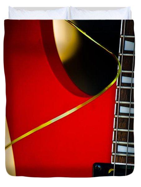 Red Guitar Duvet Cover by Hakon Soreide