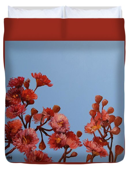 Red Gum Blossoms Australian Flowers Oil Painting Duvet Cover by Chris Hobel